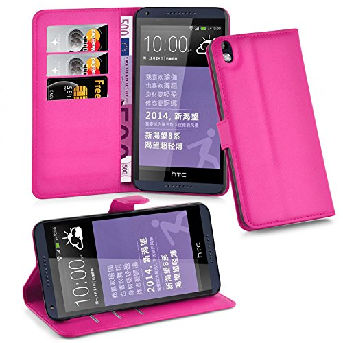 Cadorabo Hülle für HTC Desire 816 in Cherry PINK - Handyhülle mit Magnetverschluss, Standfunktion & Kartenfach - Hülle Cover Schutzhülle Etui Tasche Book Klapp Style