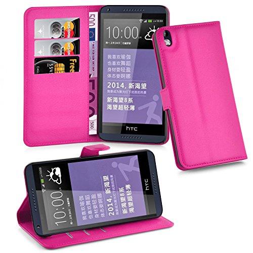 Cadorabo Hülle für HTC Desire 816 - Hülle in Cherry PINK – Handyhülle mit Kartenfach & Standfunktion - Case Cover Schutzhülle Etui Tasche Book Klapp Style