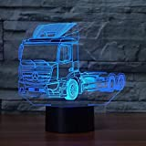 Color 3D-LED-7-Control remoto-Luz nocturna-Lámpara de mesa con forma de vehículo de camión Decoración de dormitorio de camión automático Iluminación de sueño Regalo de ventilador de automóvil