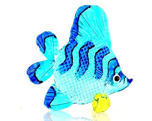 Zierfisch Blau Schwarz Gestreift Gelb - Glas Figur Blauer Korallenfisch 116L Glasfisch Deko Aquarium Vitrine