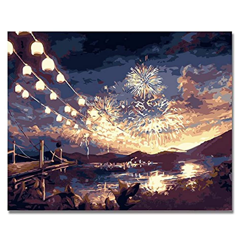 BOSHUN Paint by Numbers Kits with Brushes and Acrylic Pigment DIY Canvas Painting for Adults Beginner- Fireworks 16 x 20 inch(Without Frame)