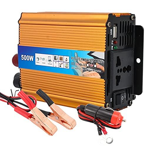 JMYSD Adaptador Convertidor De Inversor De Corriente para Automóvil De 500 W con Puerto USB De Carga para Consolas De Reproductor De Video para Teléfonos Móviles,Oro,500W12V to 220V