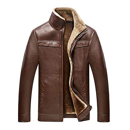 SBL Herren- Und Herrenoberbekleidung Aus Leder - Plus Samt Dicke Lederjacke Jacke - Mode Pop Leder Jacke Jacke Männlich,Hellbraun,L