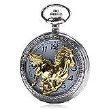 Reloj de bolsillo con diseño de caballo dorado, estilo chino, para hombre, mujer