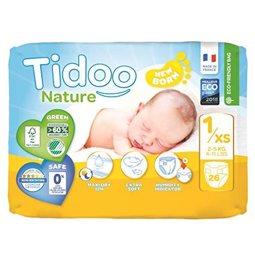 Tidoo 503785 Eco couches Biodégradable 1/XS, 2-5 kg - Mixte Enfant - 26 unité