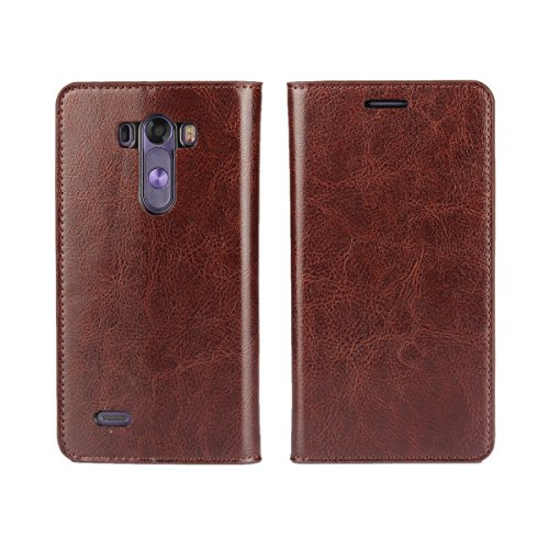 iCoverCase for LG G3 Case, Genuine Leather Wallet Case [Slim Fit] Folio Book Design with Stand and Card Slots Flip Case Cover for LG G3 (Brown)