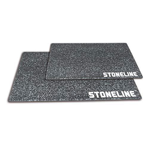STONELINE® Glas-Schneidebrett, Schneideplatte, Herdabdeckplatte, 2-teiliges Set, 40 x 30 cm und 20 x 30 cm