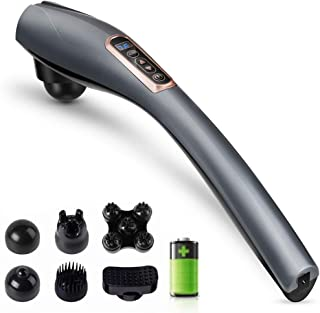 Cordless Handheld Back Massager,Percussion Massager with 6 Interchangeable Nodes,10 Speeds &12 Modes,Portable Design Electric Body Massager for Neck Back Shoulder Arms Leg Foot Relaxing