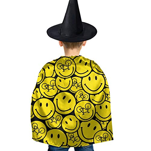 Amoyuan Unisex Kids Kerstmis Halloween Heks Mantel Met Hoed Grappige Smiley Fiets Fietsen Wizard Cape Fancy Jurk
