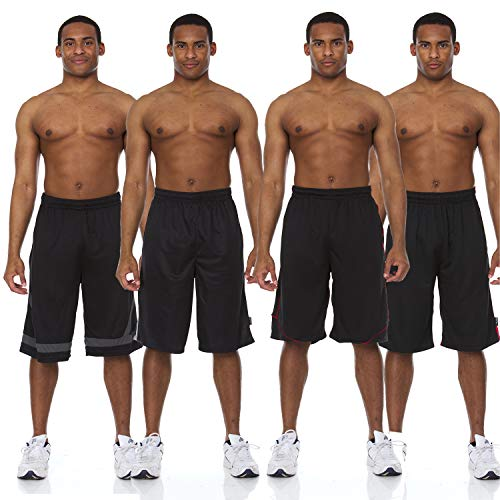 Essential Elements 4 Pack: Men's Active Performance Athletic Quick-Dry Basketball Workout Gym Knit Drawstring Shorts with Pockets (X-Large, Set A)