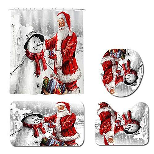 Loveablely Badezimmer Matten Weihnachten Schneemann Weihnachtsmann Duschvorhang Bodenpads Toilettensitz