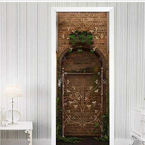 Europea Bonsai Flower 3D Wall Door Sticker Autoadhesivo Impermeable Wallpaper Decals Decoración Para El Hogar Puerta 77 * 200Cm