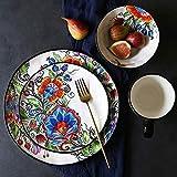 sknonr Taza de la Placa de Ensalada Bowl, Porcelana Colorida Flor, Cuencos Irregulares, 4 Piezas de Pintado a Mano de la Vendimia Conjunto de Cena de cerámica
