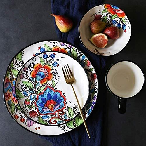 TongN Plaque Saladier Tasse, colorée de fleurs en porcelaine, bols irréguliers, 4 pièces de Set dîner en céramique peinte à la main Vintage