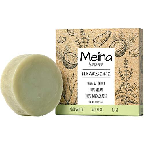 Meina - Bio Haarseife Naturkosmetik, Vegan Shampoo Bar mit Aloe Vera und Kokosmilch, festes Shampoo - Palmölfrei, Plastikfrei (1 x 80 g)