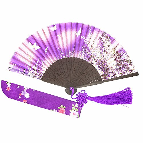 """Wise Bird Charming Elegant Modern Woman Handmade Bamboo Silk 8"""" Folding Pocket Purse Hand Fan, Collapsible Transparent Holding Painted Fan with Silk Pouches/ Wrapping. Beautiful Fashion Accessory for Wedding, Bride Maids, Party, Cosplay, Business Gifts, Theater Performance, Dance Program, Themed Costume or Home Decoration,purple Butterfly -011"""