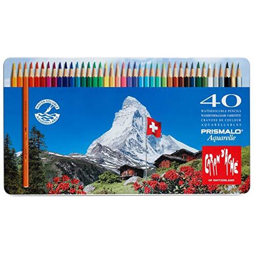 Caran PRISMALO Aquarelle - Matite Colorate Acquerellabili, Scatola in Metallo da 40 matite