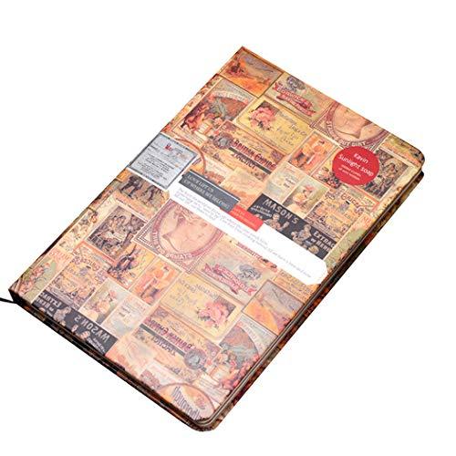 Ranvi Cuaderno de papel kraft de estilo retro europeo, bloc de notas de tapa dura creativo A5, rojo