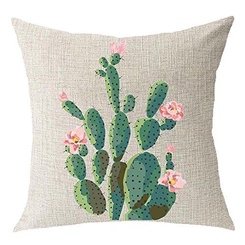 Cotton Linen Green Plants Succulents Cactus Prickly Pear Square Throw Waist Pillow Case Decorative Cushion Cover Pillowcase Sofa 18