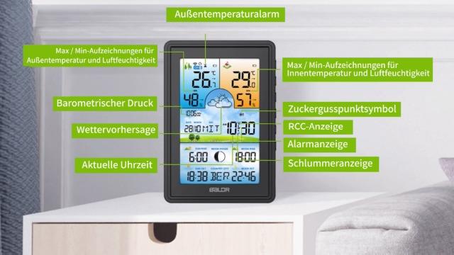 Wecker und Mehr Wettervorhersage Innen und Au/ßen Digitale Hygrometer Thermometer mit Temperatur BIMONK Funk Wetterstation mit Au/ßensensor Luftfeuchtigkeit