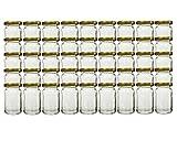 hocz 45 TLG Set Einmachgläser Füllmenge 107 ml Gold   hitzebeständig zum einkochen Twist-Off Verschluss Marmeladengläser wiederverwendbar inkl Deckel (Gold)