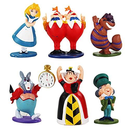 Alice in Wonderland Figures Mad Hatter Cheshire Cat White Rabbit Red Queen of Hearts Tweedle Dee Dum Model Toys 6 Pcs