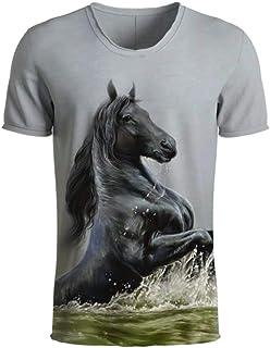 Animal Men T Shirts 3D Print Men T Shirts Casual Horse Short Sleeve Tees Tops S-5Xl
