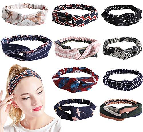 ArtiDeco 10 stuks bloemenbedrukte elastische hoofdband dames bloemen haarband dagelijks hoofd accessoires
