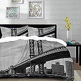 ropa de cama - Juego de funda nórdica, Nueva York, Puente de Nueva York Imagen vintage del río East Hudson Imagen de viaje de EE. UU. Top Place City Photo Art Prin, Juego de funda nórdica de microfibr