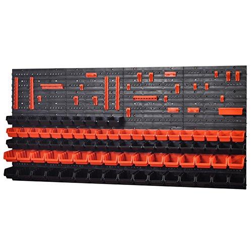 Wandregal Regal + 50 InBox Gr.1 und 32 InBox Gr.2 orange und schwarz Werkstatt Starke Schüttenregal Steckregal, Werkstatt, Hängeregal, Sortimentskasten, Kleinteilemagazin Lochwand (KOM-6)