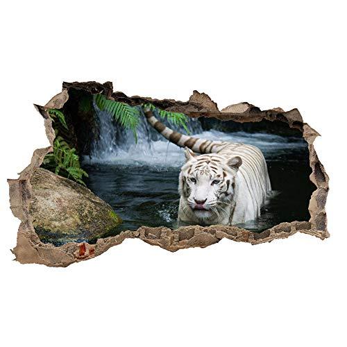 3D Wandtattoo Mauerloch Wandsticker Wandaufkleber Durchbruch Tiere selbstklebend H 60 x B 100 Schlafzimmer Wohnzimmer (WL32 Tiger Weiß)
