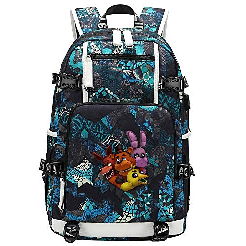 GOYING Five Nights at Freddy's Anime Laptop Backpack Bag Travel Laptop Daypacks Lightweight Bag with USB-G