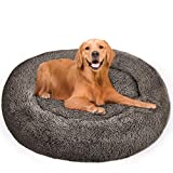 KIMIPET Calming Dog Bed Cat Bed Donut, Faux Fur Pet Bed Self-Warming Donut Cuddler, Comfortable Round Plush Dog Beds for Large Medium Dogs and Cats