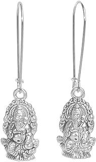 Sabai NYC Silvertone Ganesh Earrings on Stainless Steel Earwires