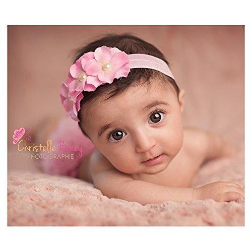 Rose clair, bandeaux cheveux bébé/enfant Orchidée