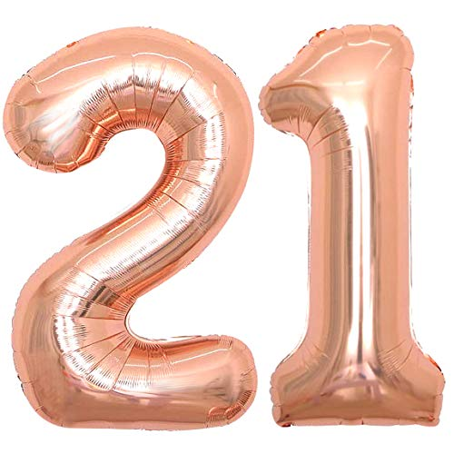 Rose Gold 21 Number Balloons Giant Jumbo Number 21 Foil Mylar Balloons for Girl Women Men 21st Birthday Party Supplies 21 Anniversary Events Decorations