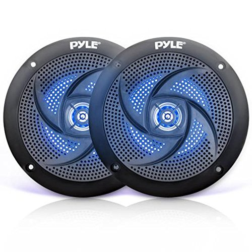 Low-Profile Waterproof Marine Speakers - 100W 4 Inch 2 Way 1 Pair Slim Style Waterproof Weather Resistant Outdoor Audio Stereo Sound System w/ Blue Illuminating LED Lights - Pyle (Black)