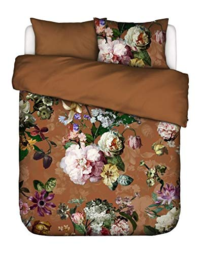 ESSENZA Floral Brown Leather Duvet Cover Set 200 x 200/220 cm + 2 Pillowcases 60 x 70 cm – Flannel Duvet Cover Collection – Duvet Cover Finished with a Double Flap.