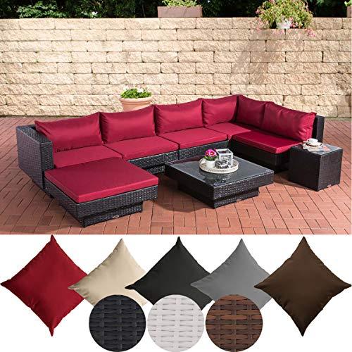 CLP Polyrattan Gartenlounge Tunis I Garten-Set mit 6 Sitzplätzen I Komplett-Set: 1 Loungesofa, 1 Fußablage, 1 Glastisch, 1 Beistelltisch, Farbe:schwarz, Polsterfarbe:Rubinrot