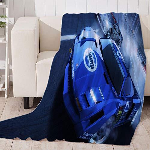 Coche de Carreras Azul Manta Reversible de Franela & Sherpa , Manta de Felpa Suave para Sofá Cama, Microfibra Manta de para sofá Cama 100x130cm