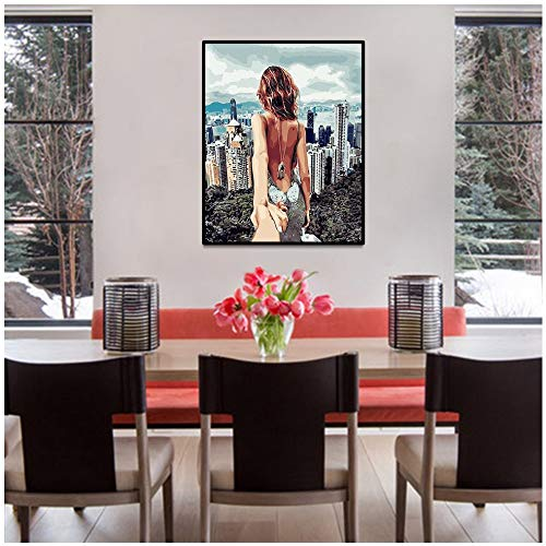 SADHAF Nordic Sexy Girl Leinwand Bilddruck Romantische Dekoration Moderne Küche Wandplakat A2 40x50cm