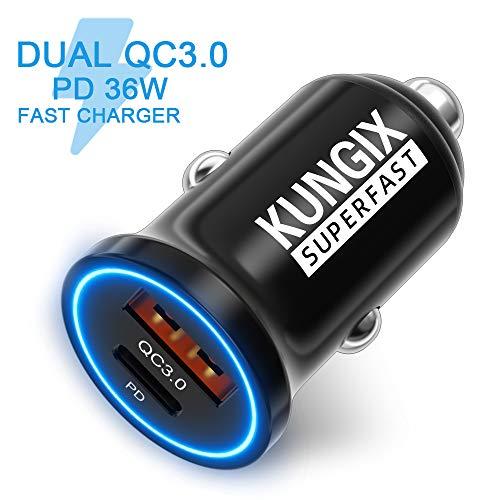 KUNGIX Auto USB C Ladegerät, Mini Fast PD Ladegerät QC3.0 36 W 5 V / 4,8 A, Typ C Aluminium Auto Ladegerät mit LED-Leuchten, geeignet für iPhone 11, iPad Pro Air/Mini, Galaxy, Huawei, MP USW