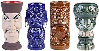 (14$/pc)Tiki Mug Cocktail Set of 3 Ceramic Hawiian Kit Party Glasses Drinkware Fuuny Parrot Bar masker Decoratie Professional Dinosaur Pineapple Skull Barware