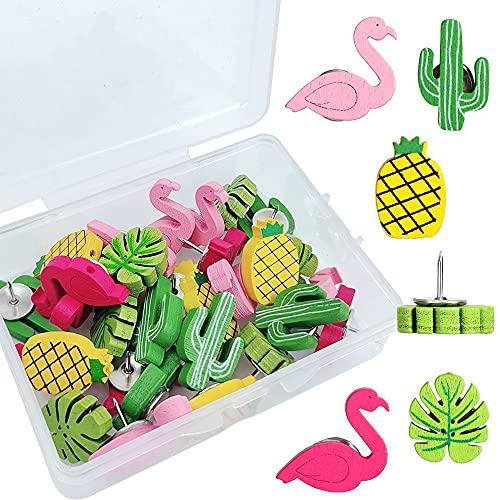 Puntine di Legno,30 Pezzi Puntine da disegno carino decorativo Palma di cactus pollice foglia Puntina da pollice,per tavola di sughero, mappa, foto