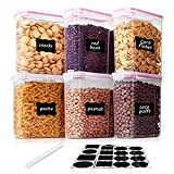 Vtopmart 2.5L Contenitori Alimentari per Cereali,Pasta, Senza BPA Contenitori Plastica con Coperchio,Set di 6 + 24 Etichette(Rosa)