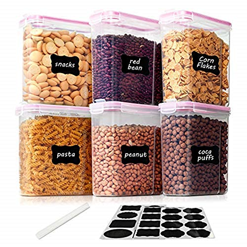 Vtopmart 2.5L Vorratsdosen Set,Müsli Schüttdose & Frischhaltedosen, BPA frei Kunststoff Vorratsdosen luftdicht, Satz mit 6+24 Etiketten für Getreide, Mehl, Zucker(Rosa)
