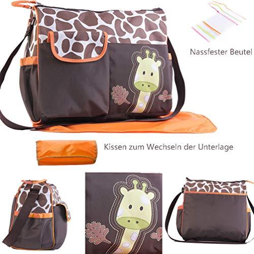 Baby Wickeltasche, Große Multifunktions Wickeltasche Niedliche Aufbewahrungstasche für Mama und Papa Unisex für den Außenbereich - Orange Giraffe