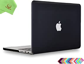 UESWILL Matte Hard Shell Case Cover for MacBook Pro (Retina, 13 inch, Early 2015/2014/2013/Late 2012), Model A1502/A1425, No CD-ROM, No USB-C, Black