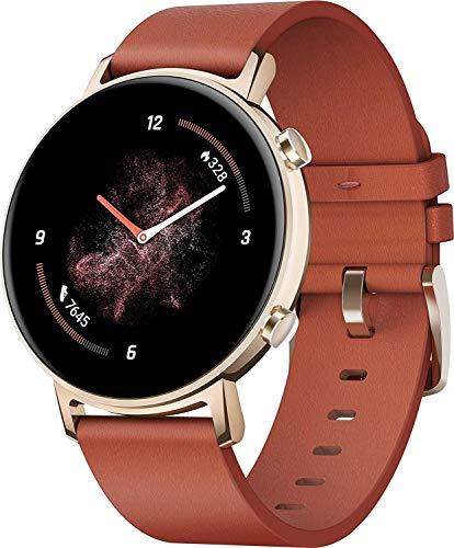 HUAWEI Watch GT 2 Smartwatch (42 mm Full-Color-AMOLED Touchscreen, SpO2-Monitoring, Herzfrequenzmessung, Musik Wiedergabe, 5ATM wasserdicht, GPS) Chestnut Red [Exklusiv +5 EUR Gutschein]