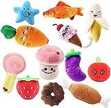 Adoture, 1 set di 12 giocattoli per animali domestici, in peluche, giocattolo di peluche che può fare un suono per cani di piccola taglia media